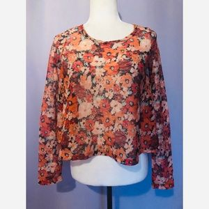 American rag sheer retro floral blouse